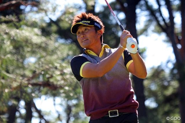 2013年 ブリヂストンオープンゴルフトーナメント 最終日 宮本勝昌 オレンジ好きの宮本勝昌も、この日はイエローばかり。と思ったらグリップエンドがオレンジ!