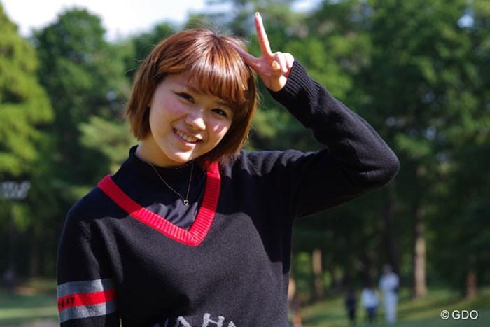 ミスショットしたけど、最後はいつものポーズで 2013年 平尾昌晃チャリティゴルフコンペ 山内鈴蘭