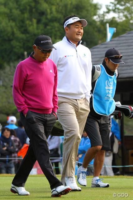 2013年 マイナビABCチャンピオンシップゴルフトーナメント 3日目 谷口徹 ハン・リー ハン・リー、でかいっ。遠近法でもなんでもない