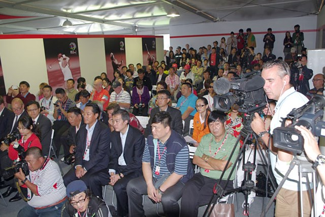 PGAチャイナの発表会見には中国メディアが大挙詰めかけ、関心の高さをうかがわせた