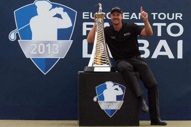 最終戦を完勝で締めくくり、賞金王戴冠を決めたH.ステンソン。37歳にしてキャリア最高の瞬間を迎えた(Andrew Redington/Getty Images)