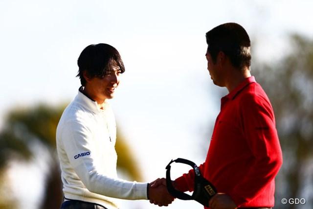 2013年 カシオワールドオープンゴルフトーナメント 初日 石川遼 池田勇太 最終ホールイーグルを決めた遼君と選手会長の若大将