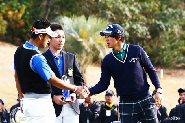 4日間通じてのドラコン賞を獲得した石川遼は、縁か偶然か、盟友の表彰式に同席した