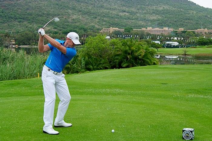 不運のペナルティにもめげることなく、単独首位の座についたJ.ドナルドソン(Getty Images) 2013年 ネッドバンクゴルフチャレンジ 2日目 ジェイミー・ドナルドソン