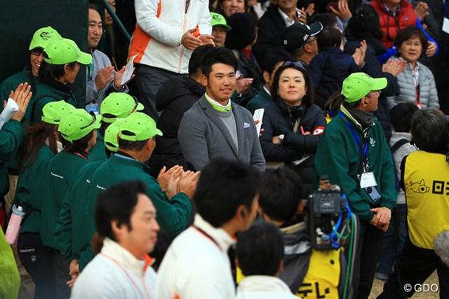 2013年 ゴルフ日本シリーズJTカップ 最終日 松山英樹 松山英樹 グリーン上には上がらなかったけど、松山くんも閉会式に顔を出しました。