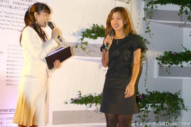ソニービルの点灯式に出席した上田桃子