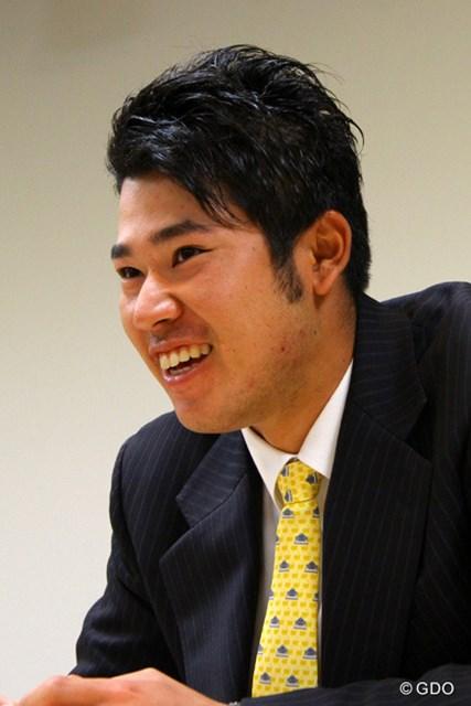マスターズ出場を決めた笑顔の松山。16日はPGAのセミナーに出席した