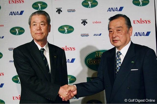 新会長に就任した小泉直氏(右)と、島田幸作元会長。JGTOの今後の動向に注目したい