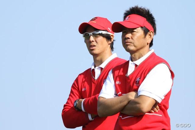 2013年 ザ・ロイヤルトロフィ 初日 石川遼&藤田寛之 日本から出場している石川遼と藤田寛之は息の合ったコンビでダブルス戦を制した
