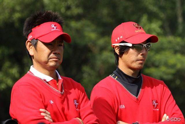 接戦となった2日目。藤田寛之と石川遼のプレー中の表情は厳しくなりがちだった