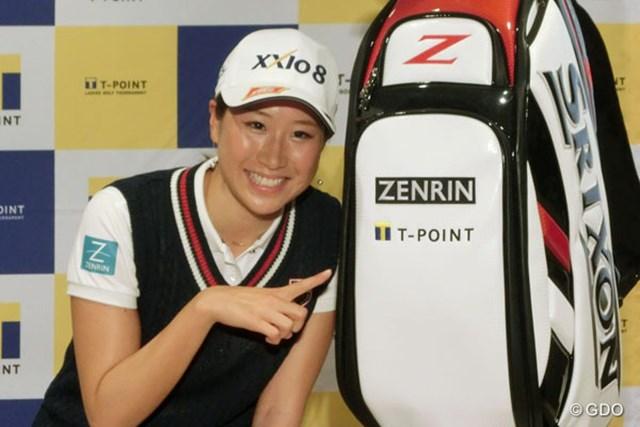 木戸愛がTポイントとスポンサー契約を締結。キャディバッグにロゴが加わった
