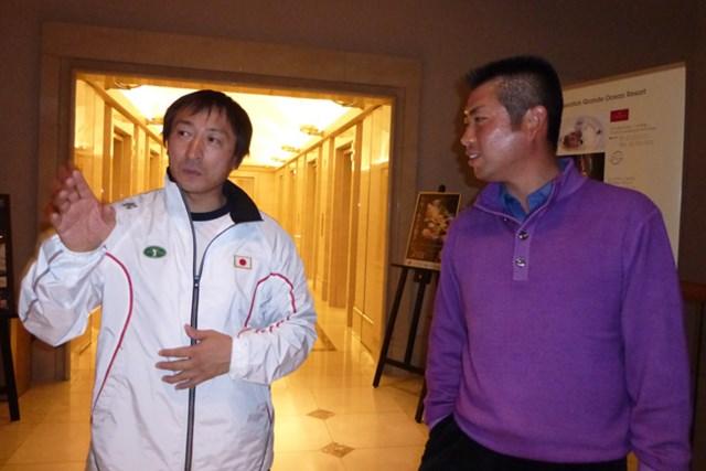 宮崎での合宿で廣戸氏からアドバイスを聞く池田勇太