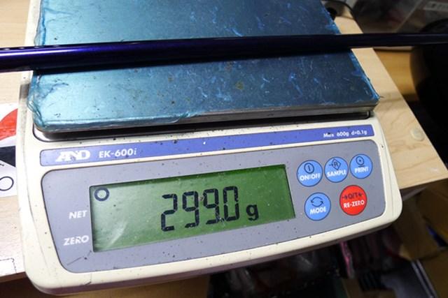 マーク試打 ミズノ JPX EIII ドライバー クラブ総重量は299グラム。カウンターバランスの効果でD0に収まっている