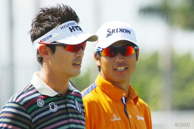 同組の練習ラウンド後「久しぶりに一緒にプレーしたけれど、やっぱり松山選手はスゴイ」とキム・ヒョンソン。