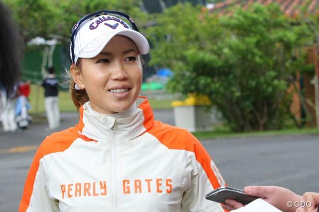 リラックスした表情で開幕戦を迎える上田桃子。国内ツアー専念で勝利を狙う