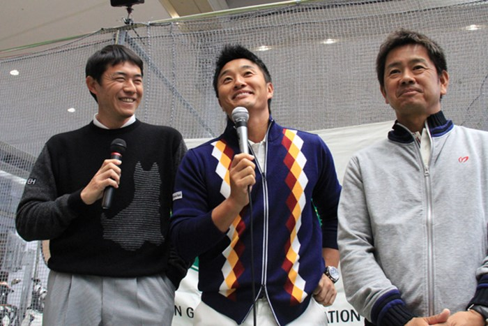 今後は横尾要(左)の辛口トークを耳にする機会が増えるかも? 2014年 ジャパンゴルフフェア (左から)横尾要、宮本勝昌、藤田寛之