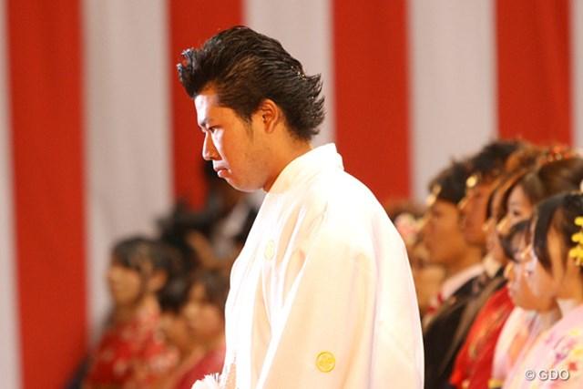 式典の最中は緊張した面持ちを見せた松山英樹