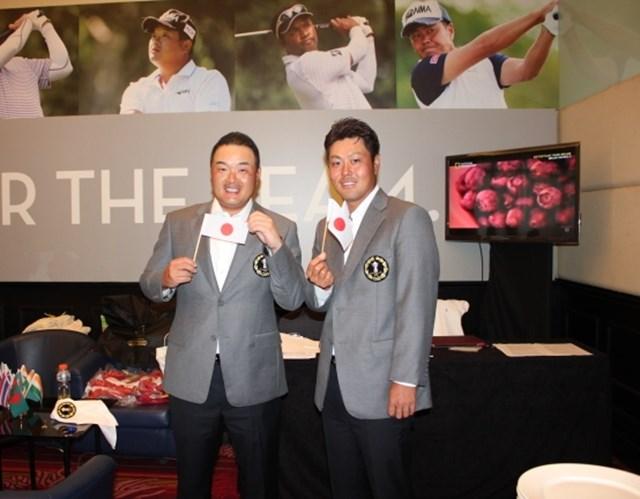 日本を代表して出場する小田孔明(左)と谷原秀人