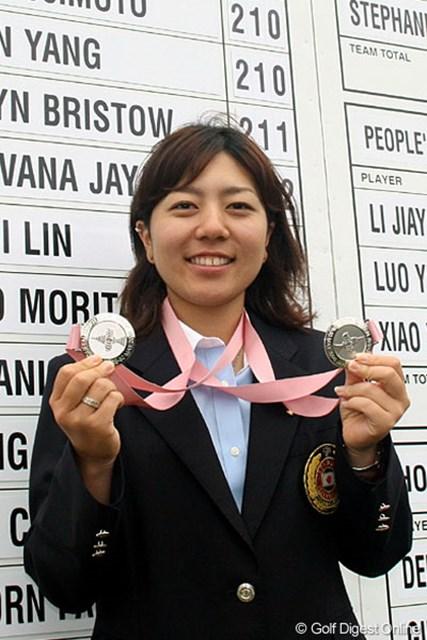 今大会では、個人・団体ともに銀メダル。アマチュアで輝かしい戦績を残している宮里美香