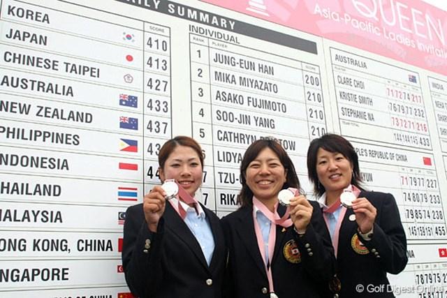 表彰式が終われば、笑顔の戻った日本チーム。団体戦2位に入った。(左から森田、宮里、藤本)
