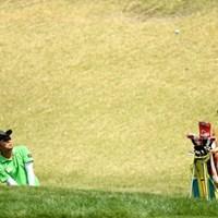 目の前で晋呉の技を見れたって勉強になったでしょ 2014年 つるやオープンゴルフトーナメント 最終日 片山晋呉 山村彩恵