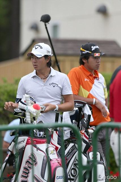 ザ・プレイヤーズ選手権の出場資格を手にした松山英樹(右)とウェイティングに回った石川遼  ※RBCヘリテージで撮影