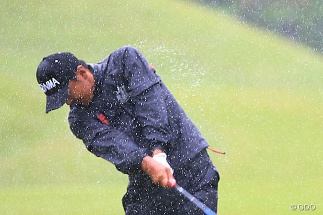 2014年 日本プロゴルフ選手権大会 日清カップヌードル杯 初日 岩田寛 この雨では滅入るよね