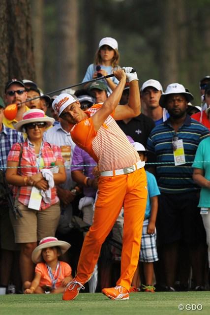 2014年 全米オープン 最終日 リッキー・ファウラー 最終日はいつもどおりオレンジのウェアで登場。子供たちにはこのほうがしっくりくる?