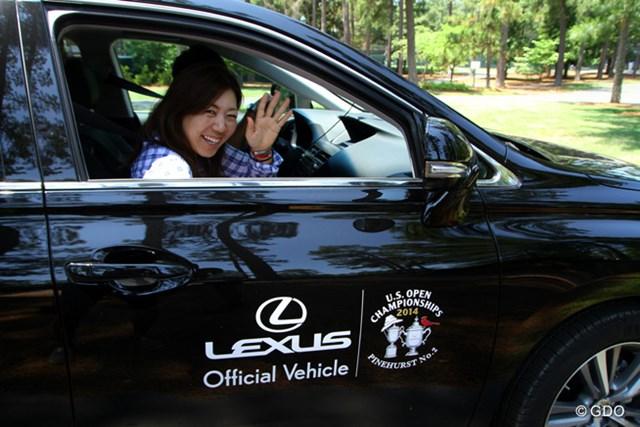 2014年 全米オープン 最終日 宮里美香 お昼ごろに宮里美香が会場に到着。松山の組について観戦した