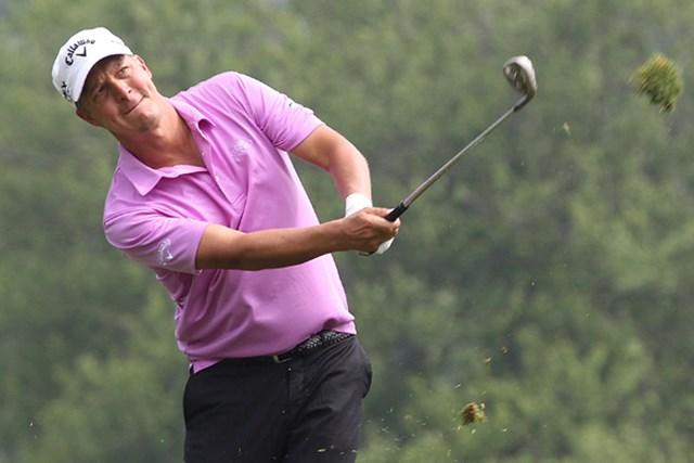 """ヘアスタイルやハイファッションなど、独特のセンスからゴルフ界の""""パンクロッカー""""と評されるF.ヤコブソン※画像は2012年"""