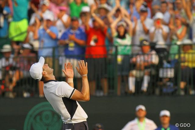 2014年 全米オープン 最終日 マーティン・カイマー メジャー通算2勝目を飾った瞬間、空を見上げたカイマー