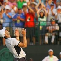 メジャー通算2勝目を飾った瞬間、空を見上げたカイマー 2014年 全米オープン 最終日 マーティン・カイマー