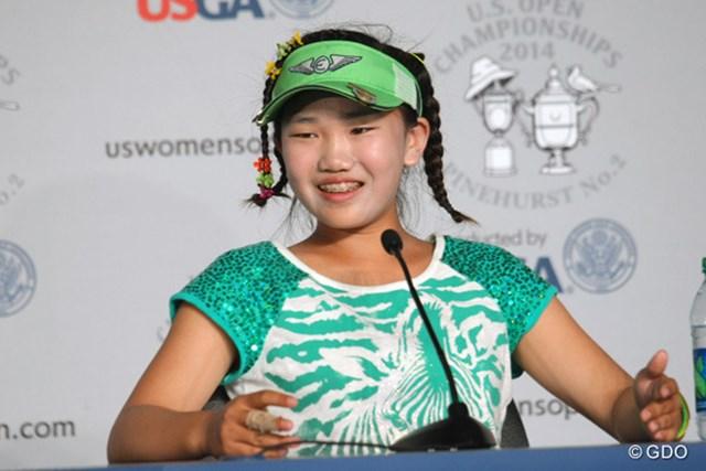 2014年 全米女子オープン 事前 ルーシー・リー 11歳のアマチュア、ルーシー・リー。開幕2日前はレクシー・トンプソンらと練習した