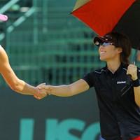 クラフトナビスコ選手権を制したレキシー・トンプソン、そして11歳のルーシー・リーと練習ラウンドを行った 2014年 全米女子オープン 事前 穴井詩