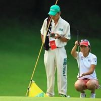 こちらのママさんゴルファーも負けてませんよ。4アンダー3位タイスタートです。 2014年 アース・モンダミンカップ 初日 佐々木慶子